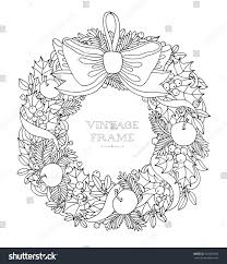 christmas wreath bow ribbon forest holly stock vector 442581490