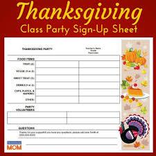 thanksgiving classroom sign up sheet homeroom
