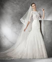 robe de mari e pronovias timy robe de mariée en dentelle manches longues wedding