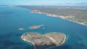 aerial view of beautiful shaped island of galesnjak also