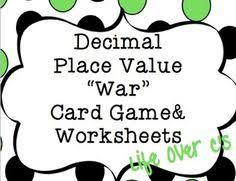 decimal place value memory match 5th grade common core decimal