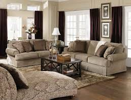 traditional living room decorating ideas with brown curtains with