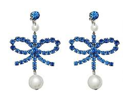 hm earrings erdem x h m blue rhinestone clip on pearl bow earrings tradesy
