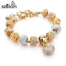 woman bracelet images Luxury crystal heart charm bracelets bangles gold bracelets for jpeg