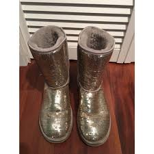 womens boots size 9 41 ugg shoes s silver sequin ugg boots size 9 from