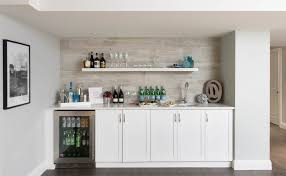 toronto basement wet bar home transitional with white walls