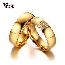 weding ring vnox simple wedding rings for women men aaa cz stones gold