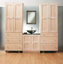 unfinished oak bathroom cabinet with wheels and bowl sinks under