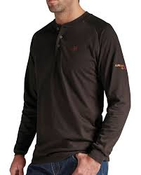 Rugged Clothes Flame Resistant Ariat Men U0027s Flame Resistant Brown Henley Long