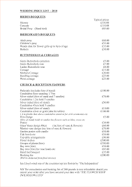wedding flowers prices 7 wedding price list procedure template sle