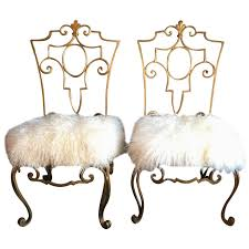 White Fur Cushions Pair Of Jean Charles Moreux Wrought Iron Chairs With Mongolian Fur