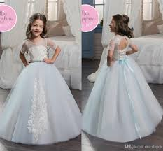 2017 light sky blue tulle flower dresses embroidery lace