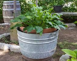 antique galvanized wash tub metal wash pot bucket zinc