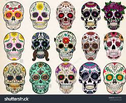 halloween background sugar skulls sugar skulls set day dead halloween stock vector 404227282