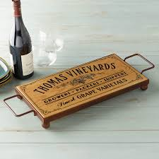 personalized tray personalized serving board with wrought iron base wine enthusiast