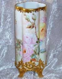 Antique China Vases Hand Painted Pink Roses Victorian Style Double Handled Vase Hand