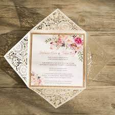 wedding invitations montreal bohemian flowers laser cut wedding invitation wedding and