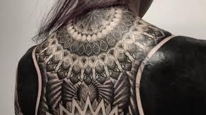 nice upper back all black tattoo golfian com