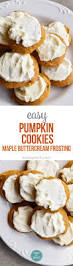 pumpkin cookies recipe with maple buttercream frosting add a pinch