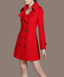 double breasted long down coat women red coat casual peacoat