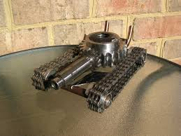 rod tank recycled metal sculpture and pen holder progetti