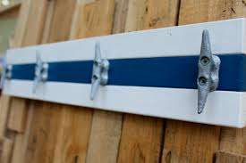 nautical boat cleat coat rack blue and white towel rack hat