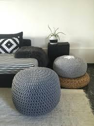 Pouf Ottomans Grey Crochet Pouf Ottoman Nursery Foot Stool Pouf Furniture