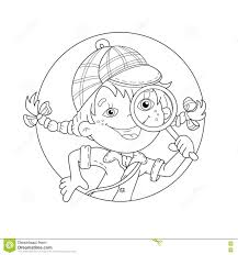 coloring page outline of cartoon detective with loupe stock