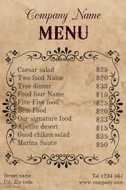 menu template vintage restaurant food menu template postermywall