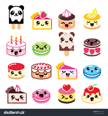 cute kawaii dessert cake macaroon ice cream icons stock vector