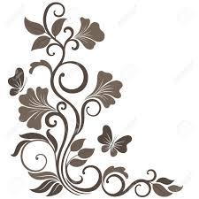 floral illustration in sepia ornament corner element royalty free