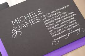 purple and silver wedding invitations michele wedding invitation three words