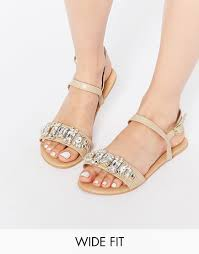 image 1 of asos for real wide fit flat sandals best foot forward