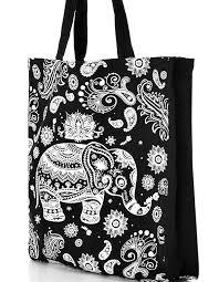 paisley elephant reusable tote bag cleo