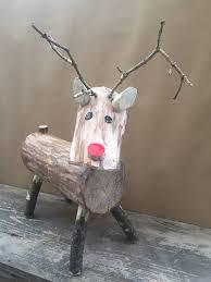log reindeer wooden log reindeer rudolph rudolf christmas decoration