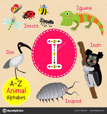 cute children zoo alphabet i letter tracing of funny animal