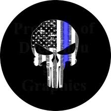jeep silhouette punisher skull thin blue line spare tire cover