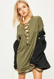 khaki lace up distressed t shirt dress missguided