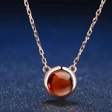 gold orange necklace images Natural round orange red garnet rose gold chain pendant necklace jpg