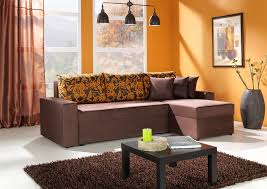 orange livingroom simple living room decoration with orange wall paint and brown
