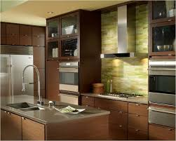white glass tile backsplash kitchen traditional with light wood
