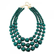multi layered beaded necklace images Hunter green faceted beads three row layered statement bib necklace jpg