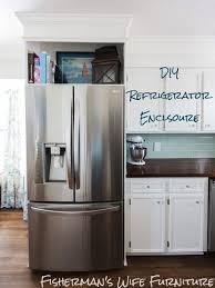 how to trim cabinet above refrigerator diy refrigerator enclosure how to build a cabinet around