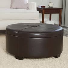 Tufted Leather Cocktail Ottoman by Furniture Round Storage Ottoman Tufted Leather Ottoman