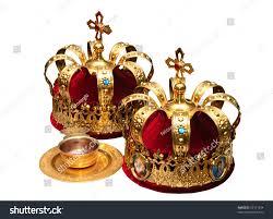 orthodox wedding crowns two orthodox wedding ceremonial crowns ready stock photo 92161294