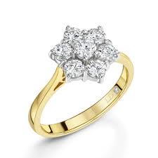 cluster rings 1 00ct18ct yellow gold brilliant cut 7 diamond ring bridal