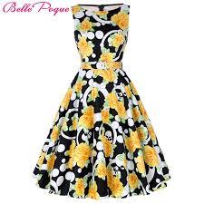 vintage dresses poque print floral 50s vintage dresses hepburn 2018