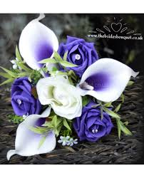 picasso calla childs bouquet purple centred picasso calla lilies with ivory and