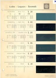 50 u0027s vw colour chart vehicle colour pinterest vw forum