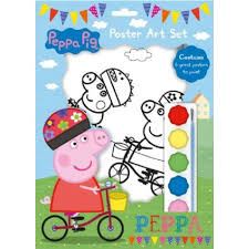 peppa pig poster art painting paints 6 posters party bag
